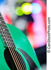 gitarr, grön, abstrakt, musik, bakgrund