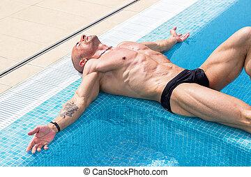 hombre, piscina, natación