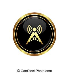 Wireless icon on the black with gold round button. Vector...