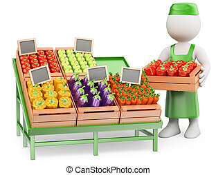 3D white people. Greengrocer - 3d white people. Seller in...