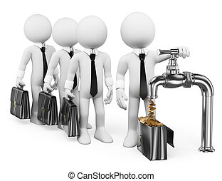 3D white people. Businessman turning on the money tap - 3d...