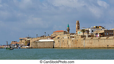 Acre Akko old city port skyline, Israel - Panoramic...