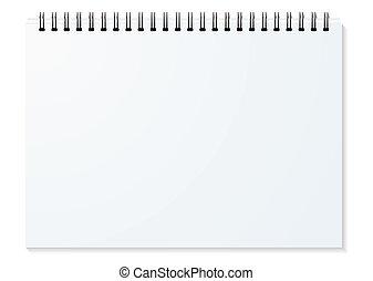 spiral binder landscape - Blank white spiral bound paper...