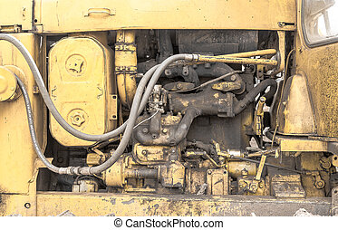 Closeup Detail of a Digger's Engine Compartment - Close-up...
