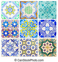 antique tiles of Sintra - set of antique tiles asulejos of...