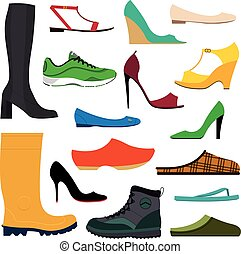Collection of various shoes - Illustration of a collection...