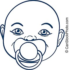 Baby sucking a pacifier - Doodle illustration of the face of...
