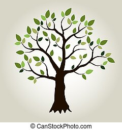 Vector tree and green leafs.