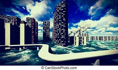 Tsunami devastating the city