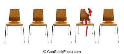 椅子, 白色, 禮物, 行