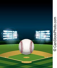 Baseball on Baseball Field Illustration - A baseball sitting...