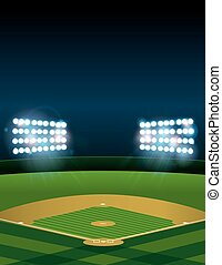 Baseball or Softball Field at Night - A lit baseball or...