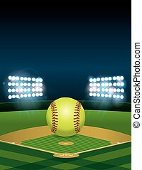 Softball on Softball Field Illustration - A yellow softball...