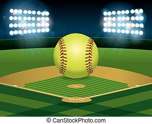 Softball on Softball Field - A yellow softball sitting on an...