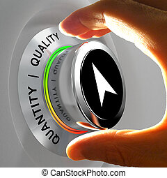 Quality versus Quantity Hand adjusting the level of items -...