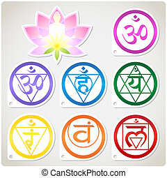 Chakras Set and Lotus - The character set of the chakras and...