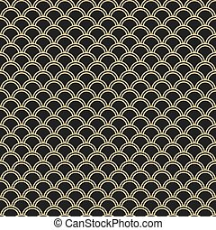 Japanese seamless vector pattern. Traditional oriental wave background. Black and gold