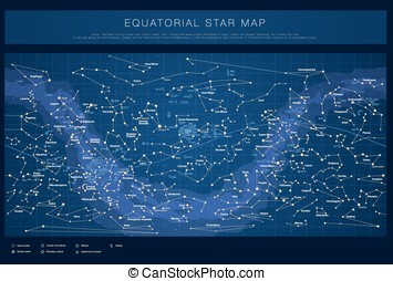 High detailed colored star map - High detailed star map with...