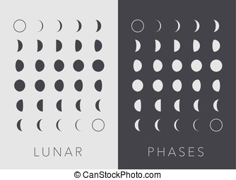 Flat Lunar phases, vector - Flat Lunar phases, black and...