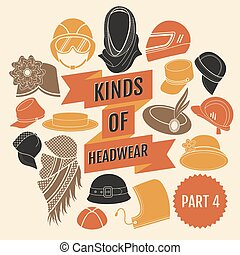 Kinds of headwear Part 3 Flat icons