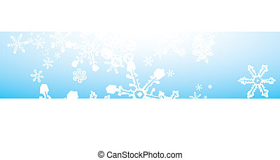 Snowstorm Banner - Thin Banner of snowflakes falling on blue...