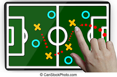 Development of a strategy.Hand moving a team to reach the goal