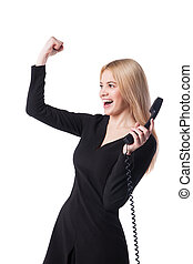 happy confident businesswoman talking on the phone isolated...