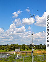 Meteorological station on the background river of Wieprz