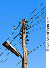 Wire electric in pole - Lamp and many wire electric in pole...