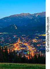 Zakopane - The view at night city Zakopane, Poland.