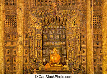 Vintage Shwenandaw Kyaung temple in Mandalay historical park
