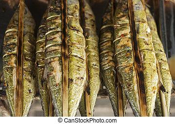 fresco, grelhados, peixe, em, kep, mercado, cambodia,