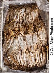 tradicional, secado, lula, em, kep, mercado, cambodia,
