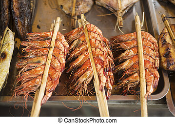 fresco, grelhados, carabineiros, em, kep, mercado, cambodia,...