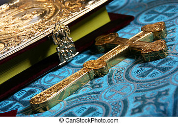 Cross and Bible - Orthodox cross and the Bible. Shallow...