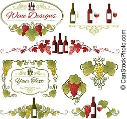 Vector Grapes and Wine Design