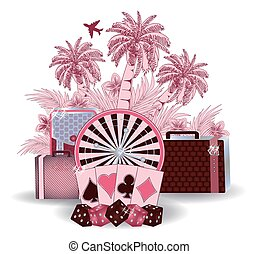 Summer travel casino background, vector illustration