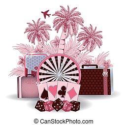 Summer travel casino background, vector illustration