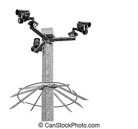 Security cameras on a spiked metal post