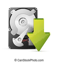 computer download concept with hard drive disk - Vector...