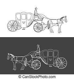 doodle coach, carriage with horse and rider, excellent...