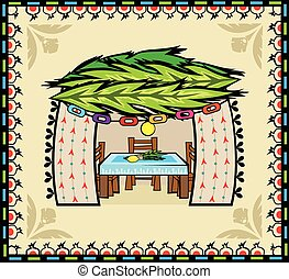 Folk Art Sukkah - Folk art style sukkah with decorative...