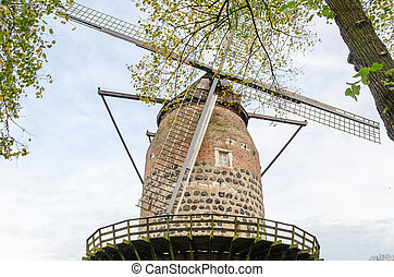 Ancient windmill in Zons am Rhein - Historic and famous...