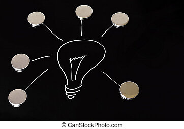Light bulb on chalkboard - A glowing light bulb on black...