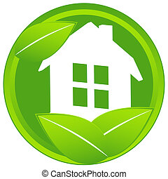 Home icon with leaf