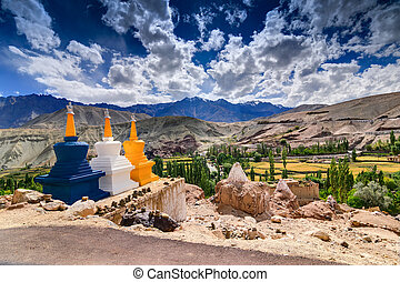 Three buddhist stupas at Leh, Ladakh, Jammu and Kashmir,...