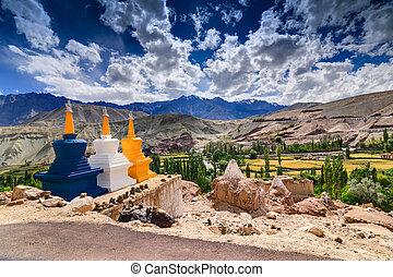 Three buddhist stupas at Leh, Ladakh, Jammu and Kashmir,...