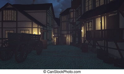 Old medieval town at dark night - Old medieval houses and...