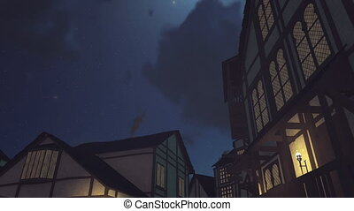 Old medieval houses under night sky - Low angle static shot...