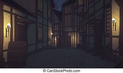 Medieval street at dark nighttime - Old medieval houses and...